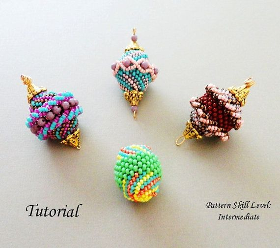 Beading tutorial for bead woven beaded beads - bead weaving pattern seed bead jewelry - FOUR BEADED BEADS