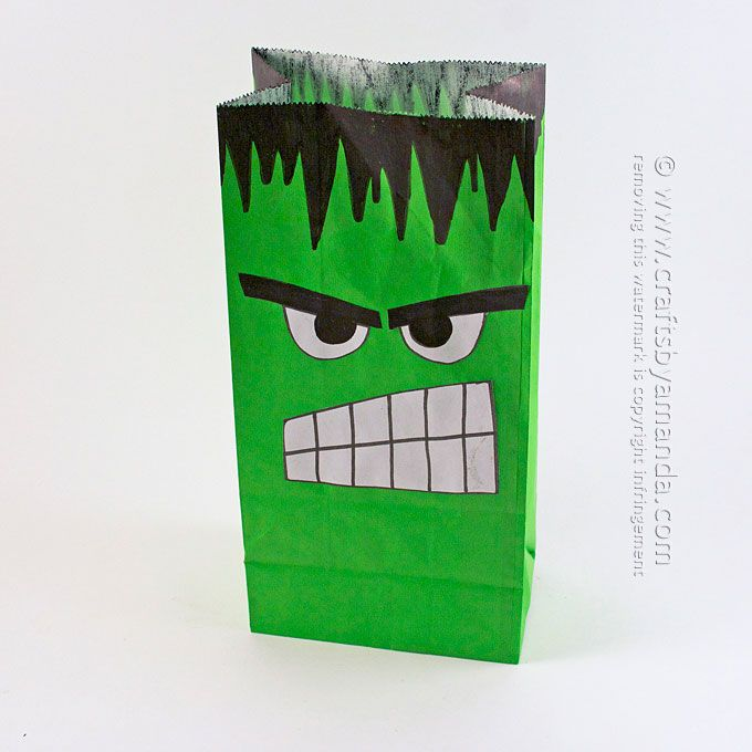 Whether you make a party bag, a popcorn bag or a Hulk puppet, this is a super easy craft with free printable perfect for The Age of Ultron!