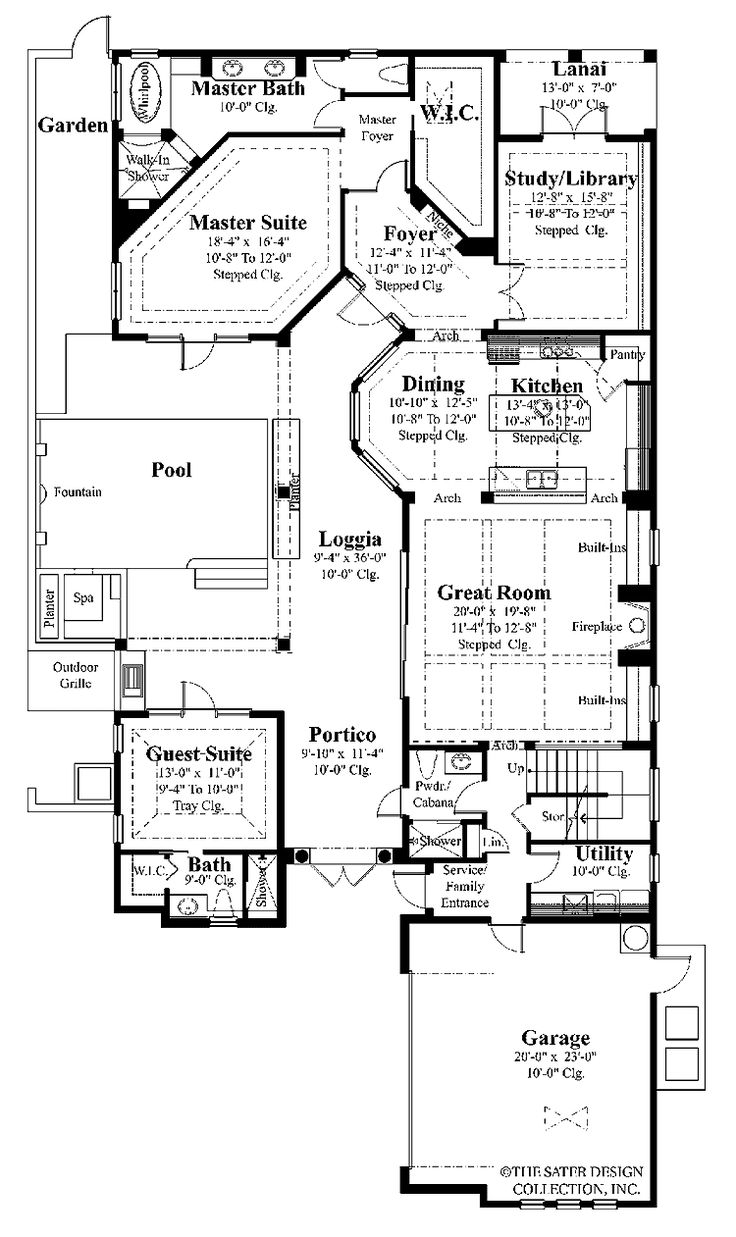 Best 7 house plans covered lanai images on pinterest for Mediterranean home plans with courtyards