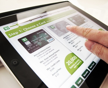 Design Research leads to better customer experience in a TD Visa iPad kiosk (for TD Canada Trust)
