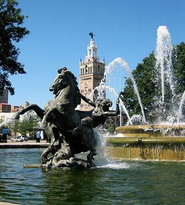 From 16 Top Attractions in Kansas City -Midwest Living.  Nicknamed the City of Fountains -  the J.C. Nichols Memorial Fountain on the Country Club Plaza.