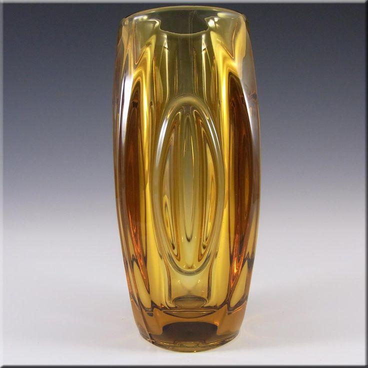 Rosice Sklo Union Amber Glass Lens Vase Rudolf Schrötter - £14.99