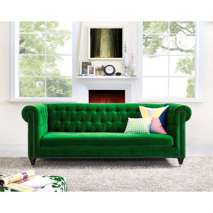 hanny green velvet sofa nailhead trim bright green and