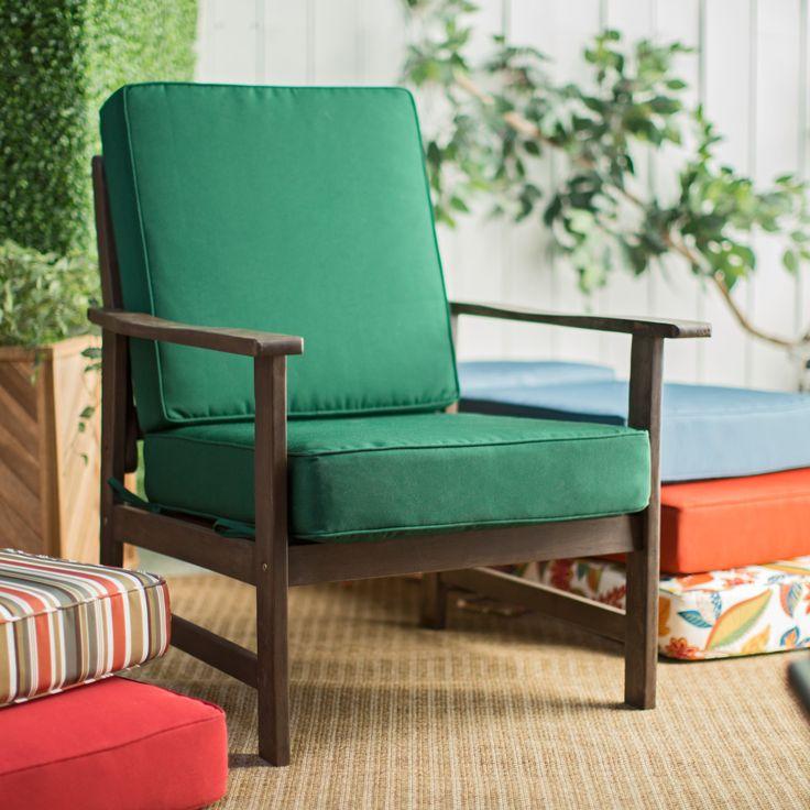 "Coral Coast Hinged Outdoor Deep Seating Cushion - Outdoor Cushions at Hayneedle. $90 harbor blue.  22.5 x 24 seat. 21.5 x 22.5 back. 5"" deep."