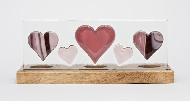 Fused Glass Panel with Pink Hearts set in Oak Tealight Holder £55.00