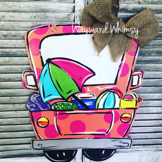 Summer beach Truck Wooden Cut Out Door Hanger by TheWaywardWhimsy