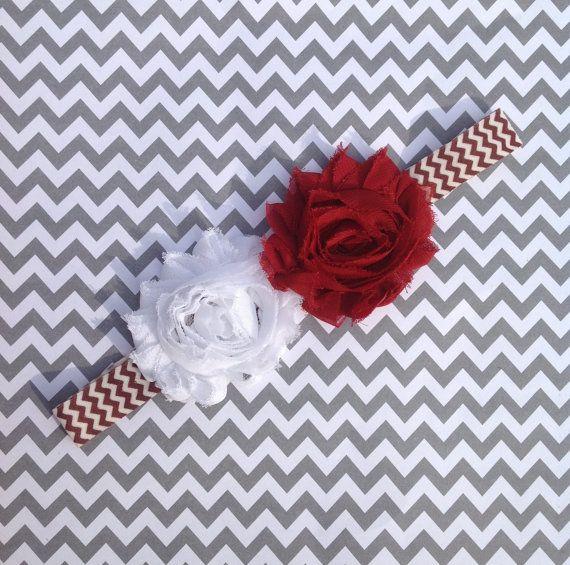 SALE! Mississippi State Bulldogs headband, maroon and white, infant headbands, baby girl headbands, chevron, newborn baby gifts, photo prop
