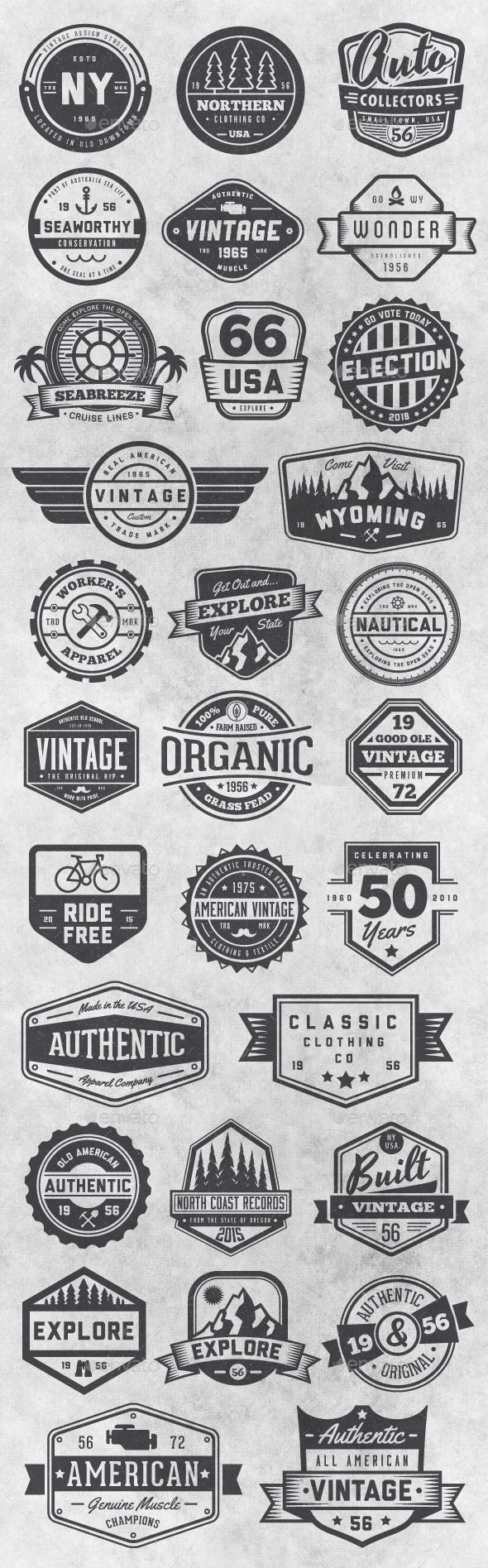 30 Vintage Style Badges and Logos Vol 6