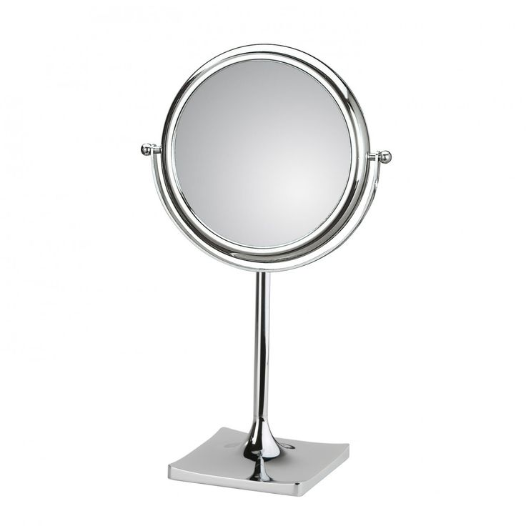 Picture Collection Website Doppiolo by WS Bath Collections Dia x Free Standing Magnifying Mirror in Chromed Plated Brass Structure and Frame in Chromed Plated Abs Features Double