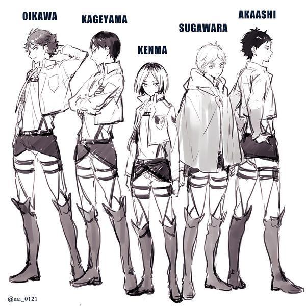 #sugawara #kenma #oikawa #kageyama #akaashi #hq #snk crossover