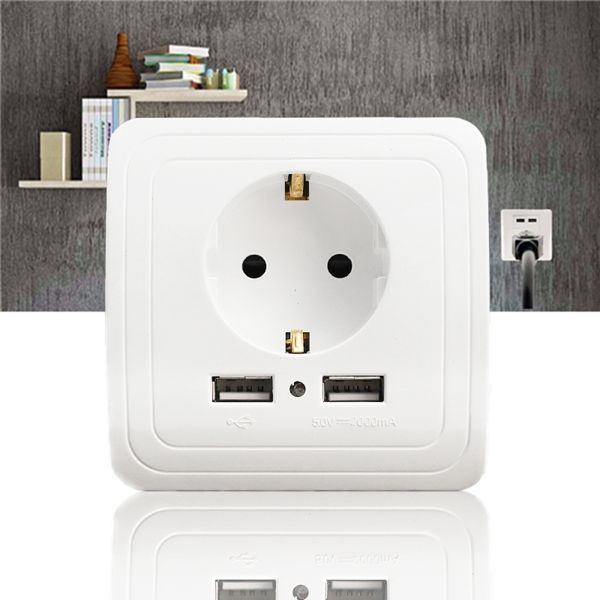 Description:  Excellway® KI09 5V 2A Dual USB Port Wall Charger Adapter EU Plug Socket Power Outlet Panel  Specifications: Brand:Excellway® Model: KI09 Type of terminals: Screw-type Material: PC Number of poles: 2P + E Existence of shutter: With Provision for earthing: With earthing contact USB Output: 5V 2A in total. Input: 100~240V~50/60Hz, 0.4A Rated Voltage(s): 250VAC/50Hz Rated Current: 16A Dimension: 80mm x 80mm x 45mm Color: White  Features: 1. Dual USB Port EU Plug wall socket pan