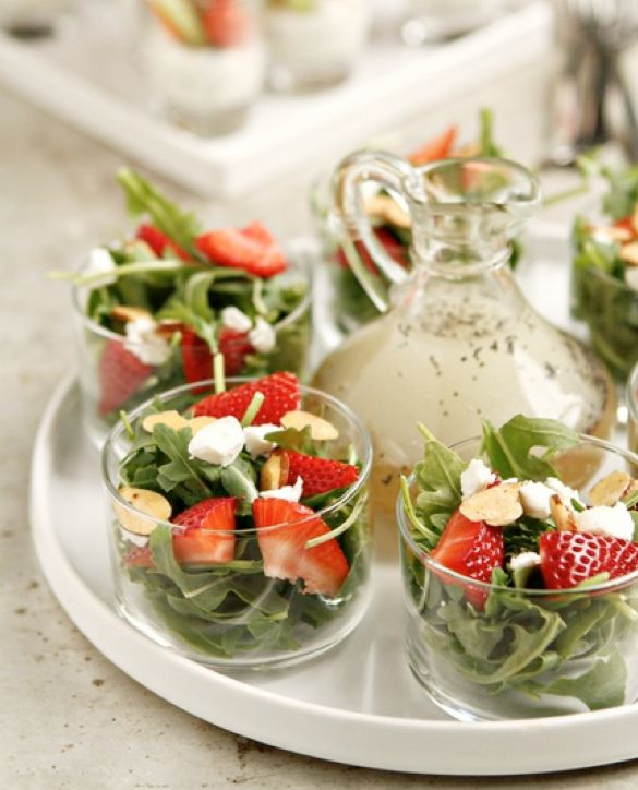 Mini Salads Looking for a healthier option? Mini salads and mini veggie dips make for perfect little appetizers. They also give your vegetarian friends and family the chance to indulge in your mini wedding bar. Cucumbers are perfect finger foods for hallowing out with a mellon ball scooper and filling with a yummy dip.