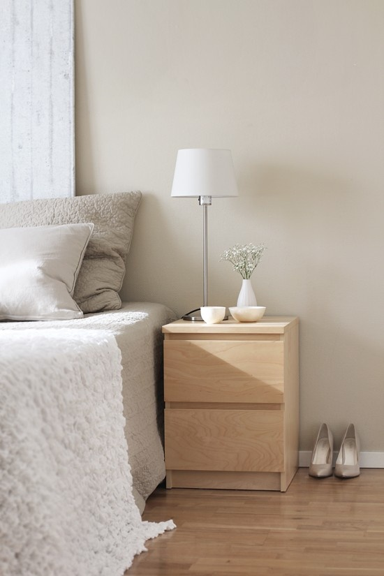 Pale wood bedside