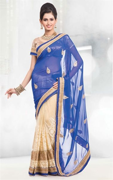 Picture of Blue and French Beige Color Saree With Beautiful Embroidered Pallu
