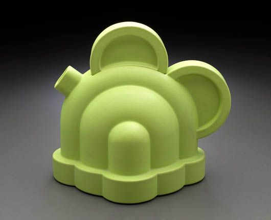 "Ettore Sottsass  Basilico Teapot From the series ""Indian Memory"" Basilico teapot,  manufactured by Alessio Sarri Ceramiche ."