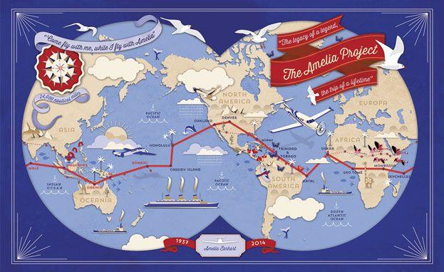 Amelia Earhart route map - Alexandre Verhille