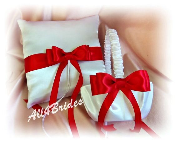 wilton your ceremony flower girl basket | Red and White Wedding Flower Girl Basket and Ring Bearer Pillow Set ...
