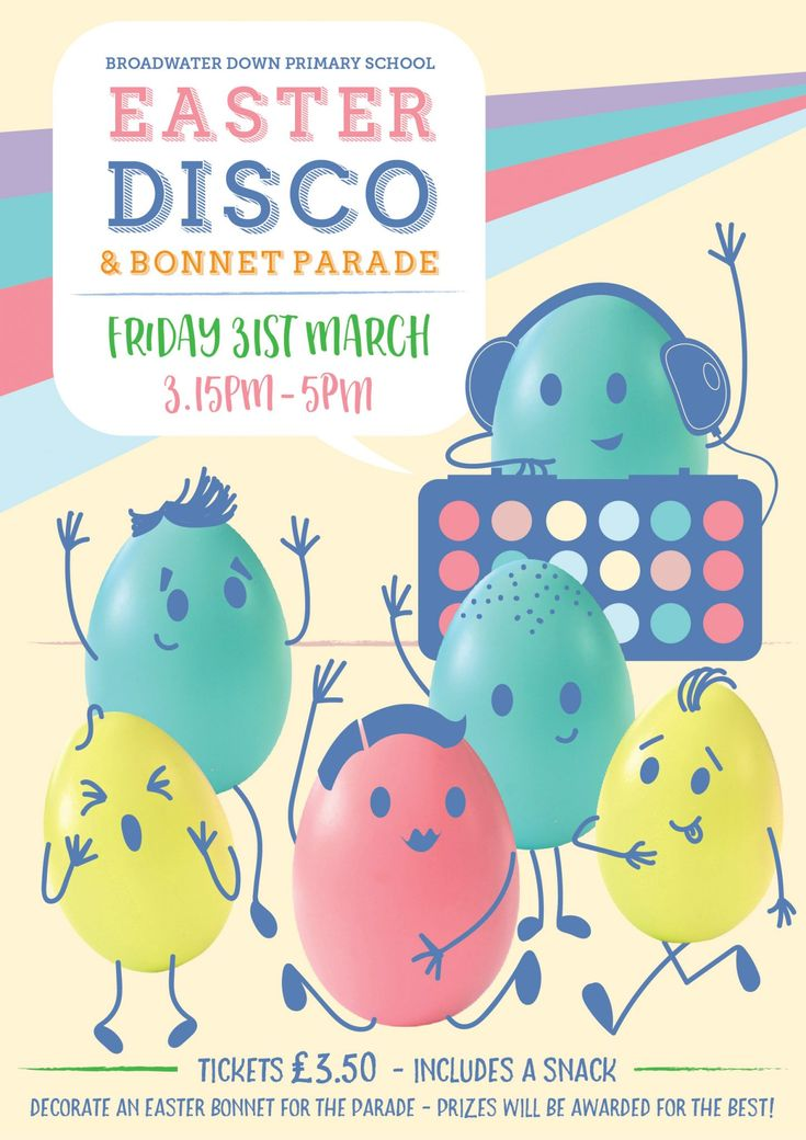 Broadwater Down Primary School Easter Disco Poster - PTA Poster