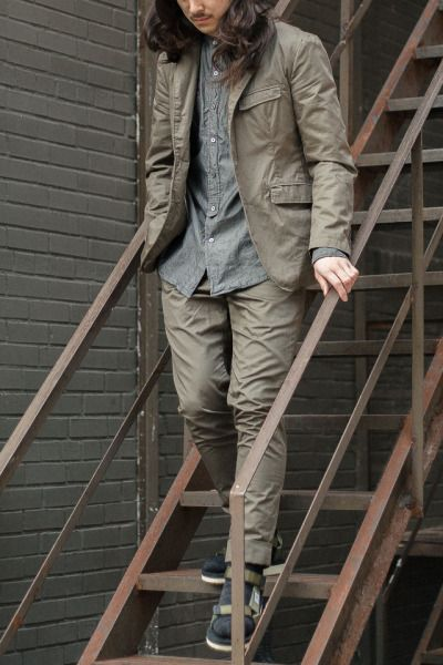 Engineered Garments SS 2017  Andover Jacket - High Count Twill // Olive  Banded Collar Shirt - Cotton Iridescent // Grey  Cinch Pant - High Count Twill // Olive