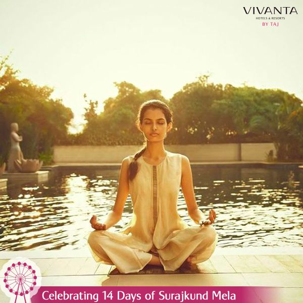 #Day9 Breathe in fresh air and breathe out anxiety at Vivanta by Taj - Surajkund as you indulge in yoga sessions. Know more: http://on.fb.me/1ztW38e #Yoga #India #Delhi #SurajkundMela