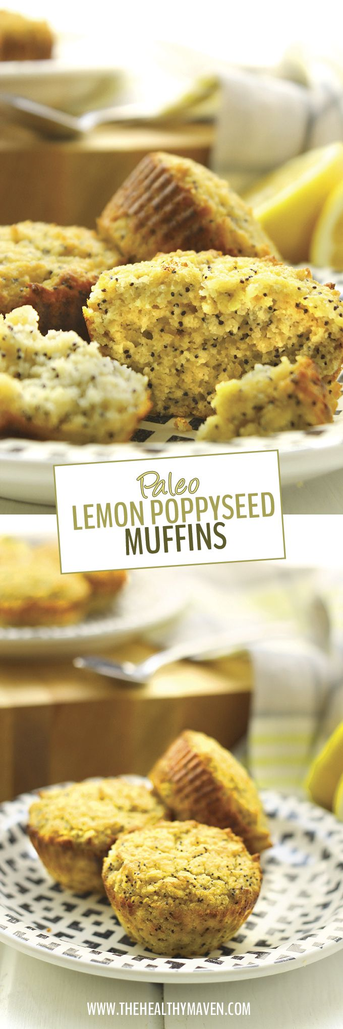 These Paleo Lemon Poppyseed Muffins are packed-full of flavor and nutrition but are completely grain and oil free. They will quickly become your new favorite Spring treat for healthy snacking on the go.