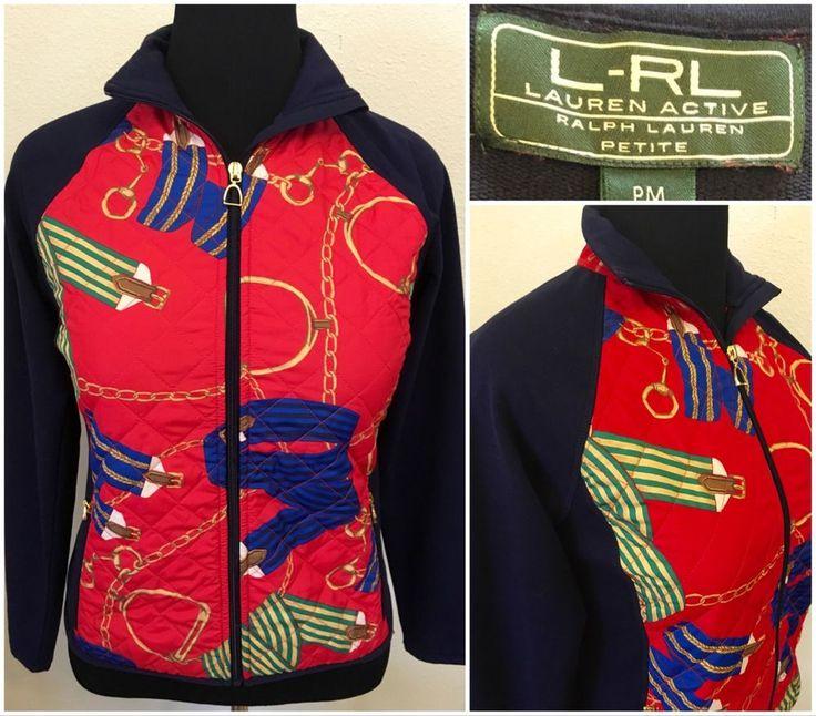 Ralph Lauren Active Navy Nautical Zip Up Jacket Women Size Medium Petite #RalphLauren #BasicJacket