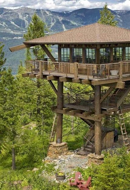 Montana Lookout Tower Cabin Tree House Modern Mountain