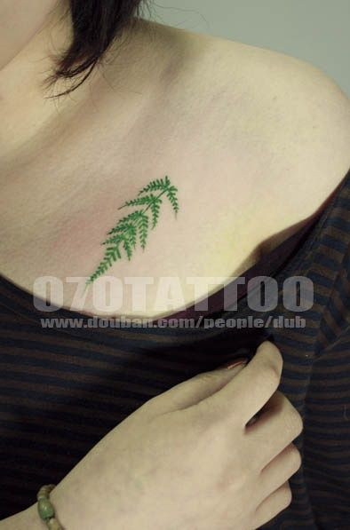 I'm really loving this green fern, it looks so real! Contemplating getting this on my right side, an inch or so under my bosom.