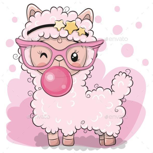 Pink Alpaca With Bubble Gum Cute Drawings Cute Art Cute Cartoon Animals