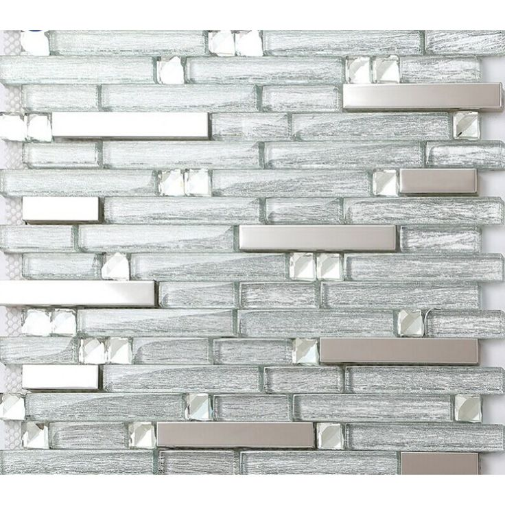 Silver stainless steel tiles laminated crystal glass mosaic diamond tile strip metal backsplash wall decor MGT903