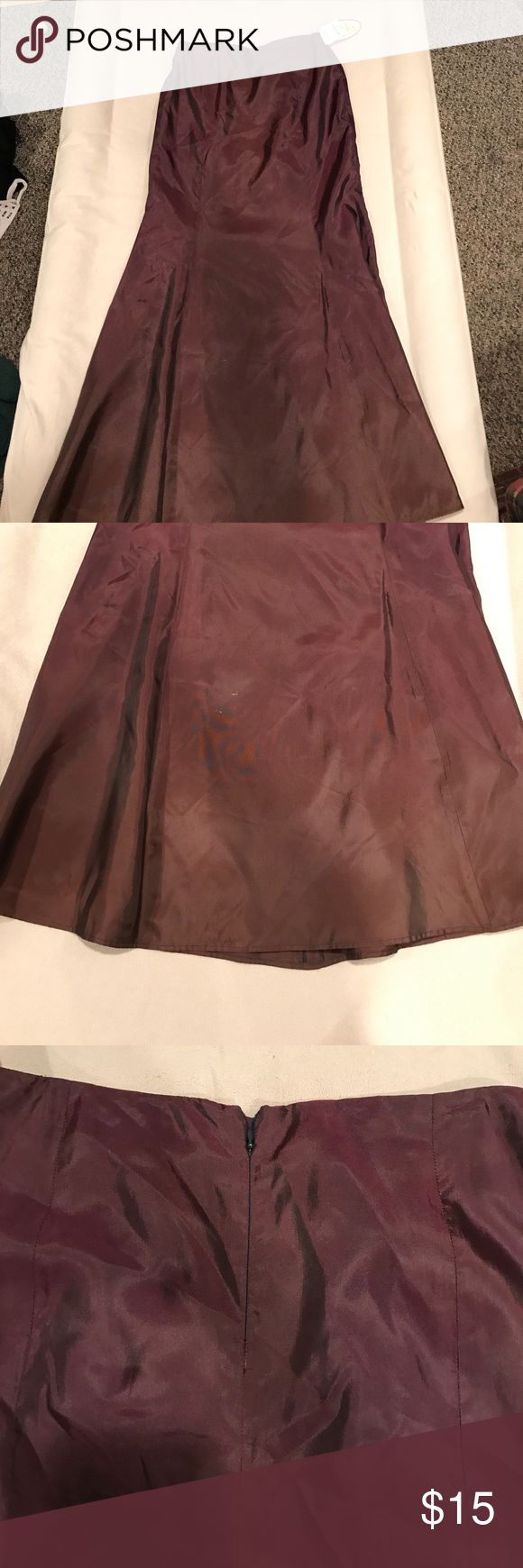 Long Satin Dress Never worn! NWT, long satin dress. So beautiful. Fitted on top and flare on bottom. Dresses Strapless