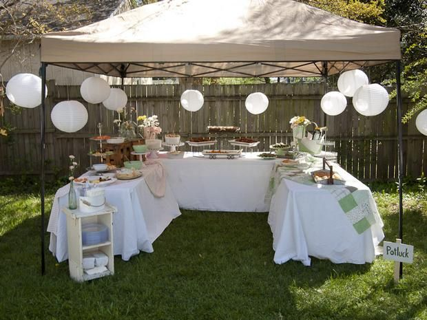 Hostess with the mostess mother 39 s surprise 60th for Outdoor party tent decorating ideas