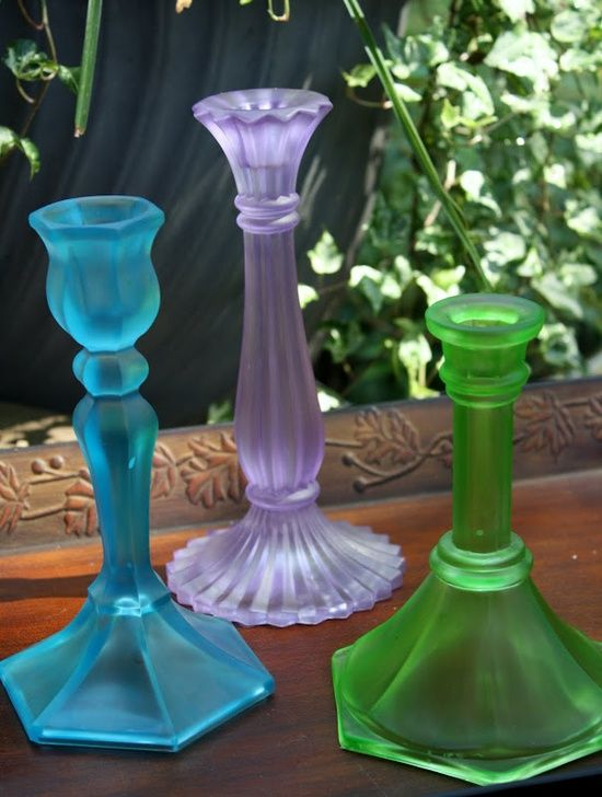 Mix Elmer's Glue and Wilton Food Coloring. Paint On Clean Dry Glass To Get This Sea Glass Look.