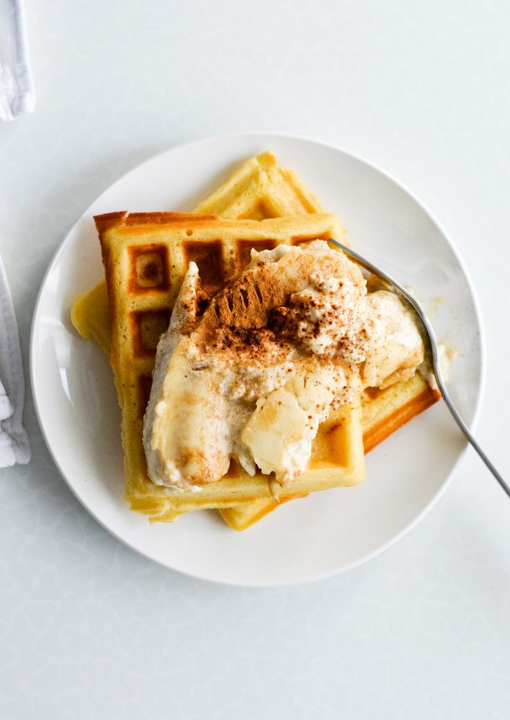 26 Reasons to Bust Out the Waffle Maker Today via Brit + Co. Crispy Waffles with Bananas Baked in Ricotta