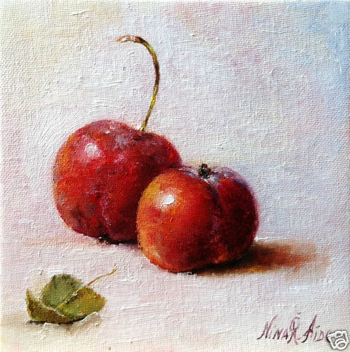 Crab Apples.   Two little red crab apples with leaf. http://oilpaintingsbynina.blogspot.com a new addition to the kitchen art series of fruit paintings.