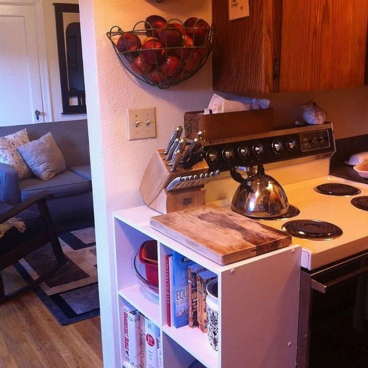 10 Ways to Decorate a Tiny Rental...on a Budget :: Hometalk (get little bookshelf for cookbooks)