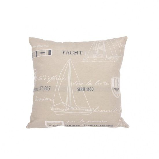 Kussen Port Medoc Beige - 40 x 40 cm art.nr. 5909 Prachtig kussen met nautische bedrukking. Mooi voor aan boord of in de woonkamer.