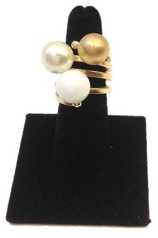 This spiral #gold #ring has a #pearl, gold, and white stone, Size 7.  Plated with 18k gold limited one year manufactured warranty.