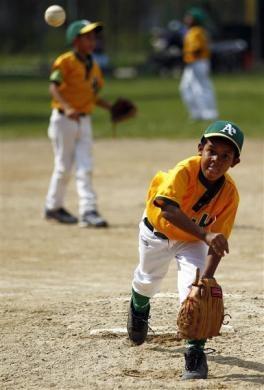 "A boy throws during a baseball game at the ""23 de Enero"" neighborhood in Caracas March 1, 2011.  REUTERS/Jorge Silva"