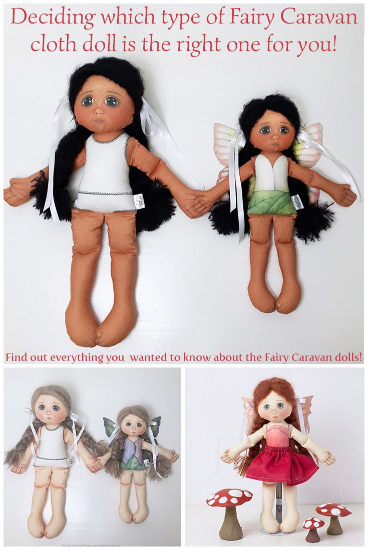 I'd like to tell you more about the differences between the 50cm tall cloth doll and the smaller Fairy doll available in our Fairy Caravan shop!