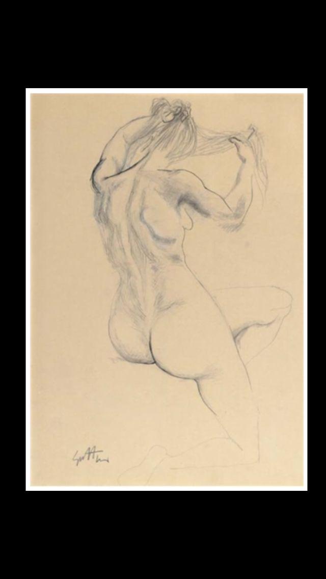 """Renato Guttuso - """" Nudo di schiena """", c. 1950/1959 - Pencil, pen and ink and chalk - 39,3 x 28,2 cm"""