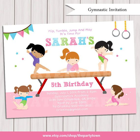 GYMNASTIEK verjaardagsuitnodiging, afdrukbare Turnen uitnodiging, gymnastische uitnodigen, gymnastische Party, afdrukbare PDF DIY-