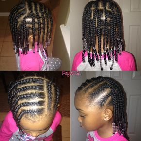 Box braids, cornrows, beads, natural hairstyles for kids…