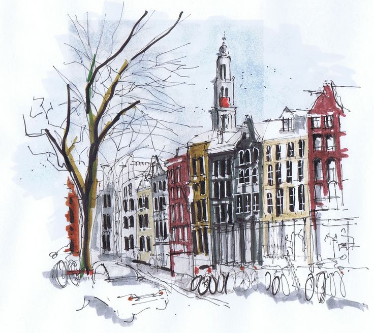 Dessin/croquis d'Amsterdam par Michelle Morelan | Guide d'Amsterdam : http://www.vanupied.com/amsterdam/ #amsterdam #sketches