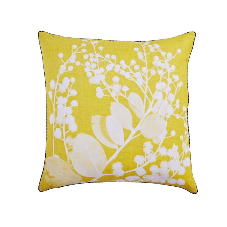 Bonnie and Neil - 100% linen cushion hand screen printed with wattle design in yellow finished with black and white piping.