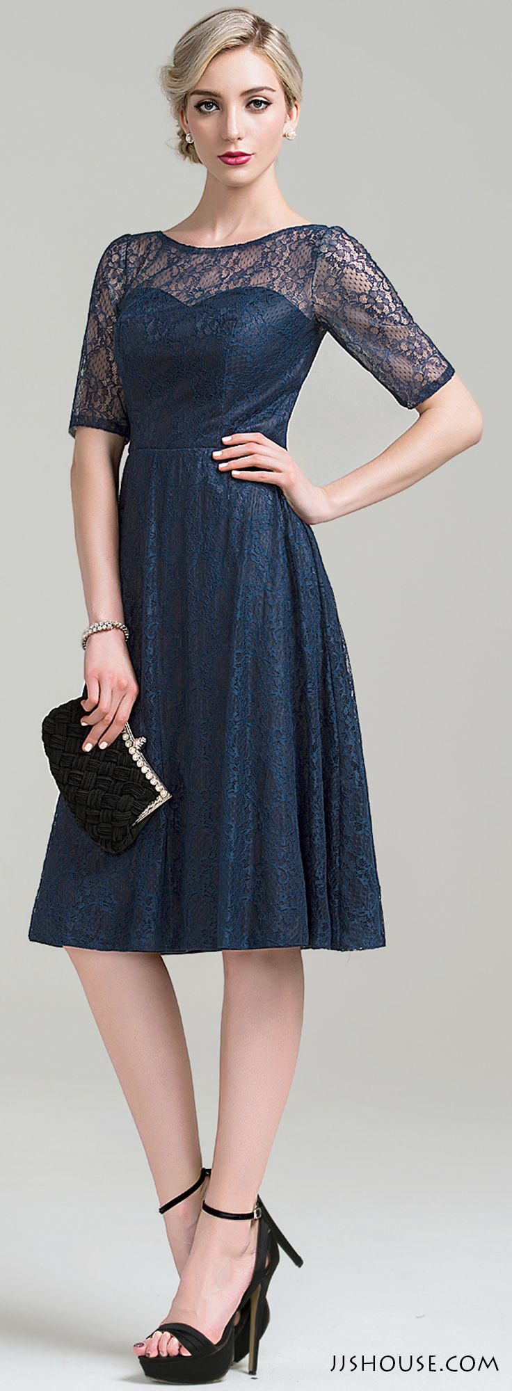 Simple All Over Lace Knee Length Dress Perfect For Any