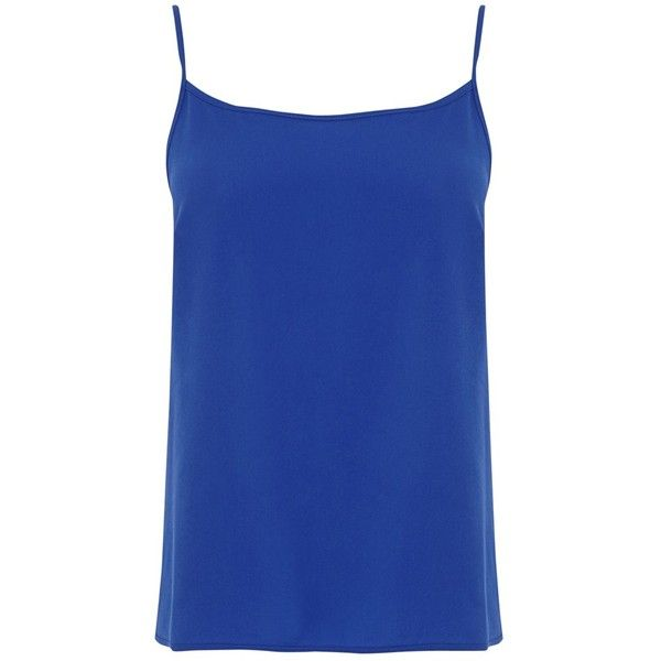 Warehouse Woven Front Camisole Top , Bright Blue ($14) ❤ liked on Polyvore featuring tops, bright blue, layering cami, blue cami top, cami top, blue cami and blue jersey