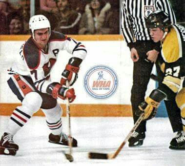 Messier playing against the Oilers while in the WHA.