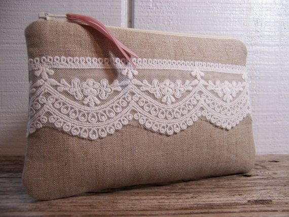 Small Clutch in linen fabric with pretty white lace very