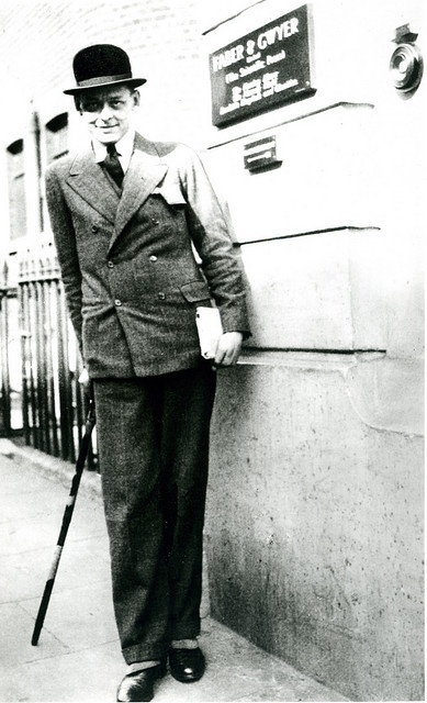 T. S. Eliot outside Faber's original building at 24 Russell Square, Bloomsbury.